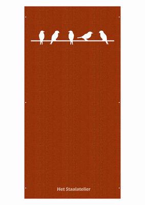 Cortenstaal Schutting Vogels op de lijn