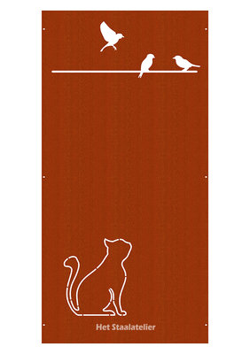 Cortenstaal Schutting Kat en vogels