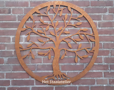 Cortenstaal wanddecoratie Tree of Life 100cm