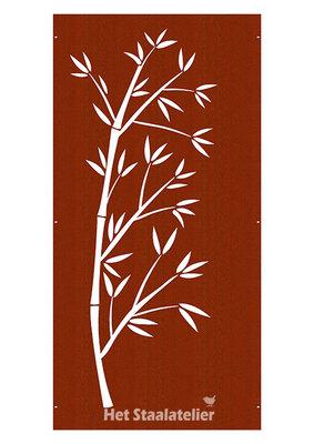Cortenstaal Schutting Paneel Bamboe tak