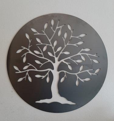 Cortenstaal wanddecoratie Tree of Life, Model 2, 75cm