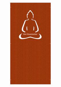 Cortenstaal schutting paneel boeddha