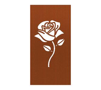 Cortenstaal schutting roos