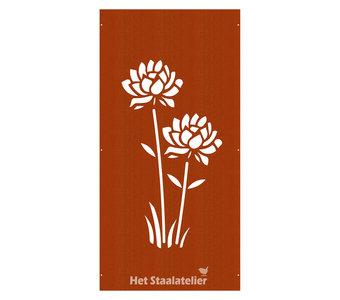 Cortenstaal tuinscherm bloem